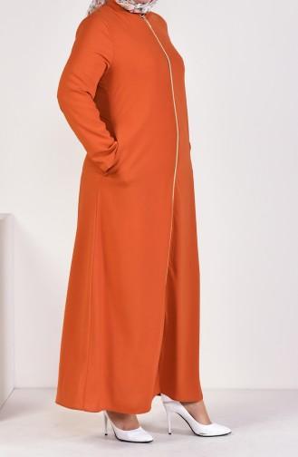 Large Size Stand Up Collar Zippered Abaya 0282-01 Orange 0282-01