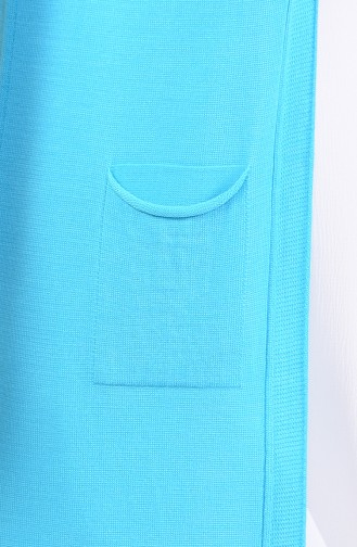 Slim Fit Knitwear Pocket Vest 4128-24 Turquoise 4128-24