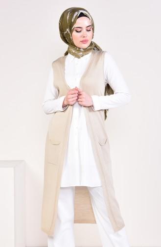 Slim Fit Knitwear Pocket Vest 4128-31 Stone 4128-31