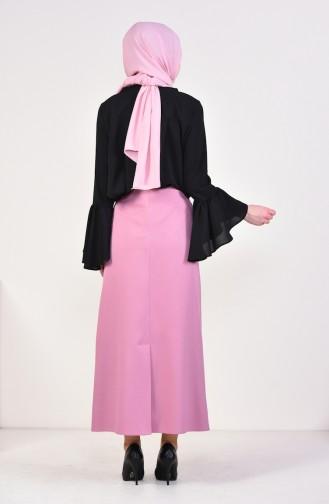 تنورة سادة بتصميم فتحة من الخلف 0413-02 لون وردي 0413-02