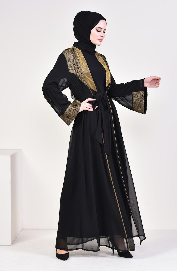 7f0b36cd388d Belted Chiffon Abaya 52747-02 Black Gold 52747-02