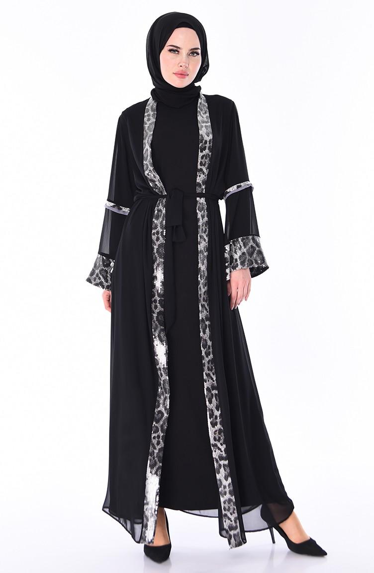 Leopard Patterned Chiffon Abaya 52748 01 Black Gray 52748