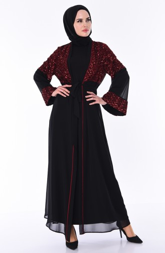 Claret red Abaya 52750-03