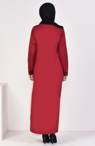 Striped Abaya 99194-04 Dark Claret Red 99194-04