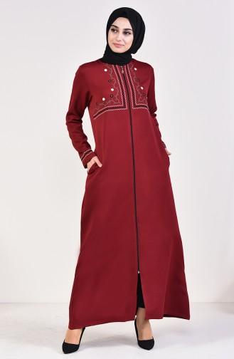 Embroidered Abaya 99195-03 Dark Claret Red 99195-03