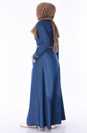 Embroidered Jeans Abaya 5168-01 Navy Blue 5168-01