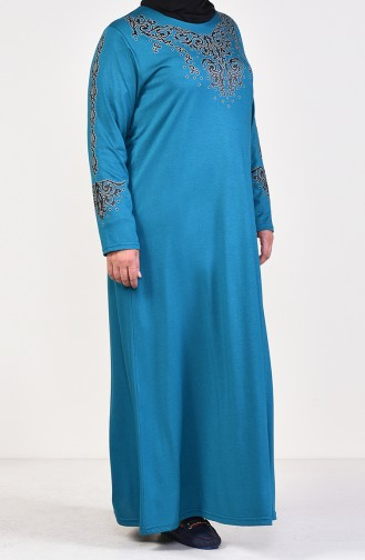 Büyük Beden Baskılı Elbise 4498-13 Petrol