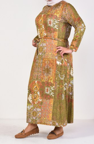 Büyük Beden Desenli Kuşaklı Elbise 4550-01 Haki 4550-01