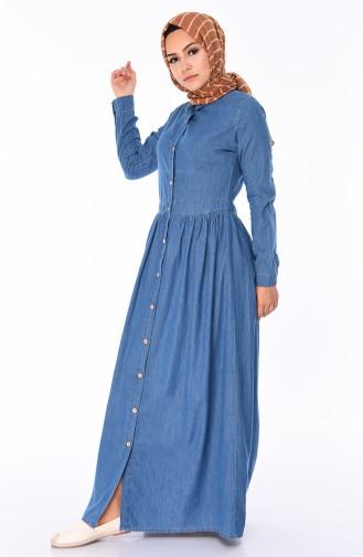 Düğmeli Kot Elbise 0068-01 Kot Mavi