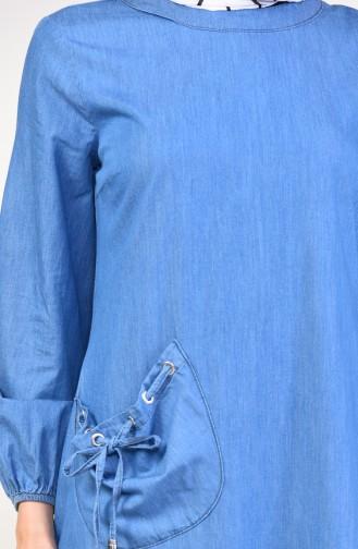 فستان جينز بتفاصيل جيوب 4002-02 لون أزرق جينز 4002-02