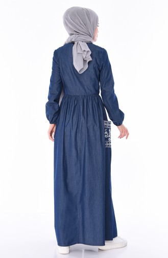 Besticktes Jeans Kleid 4033-01 Dunkelblau 4033-01