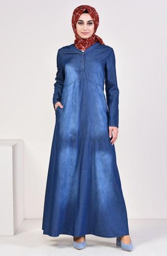 Düğmeli Kot Elbise 4034-01 Lacivert 4034-01