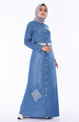 فستان جينز بتفاصيل من الدانتيل و أزرار 4045-02 لون أزرق جينز 4045-02
