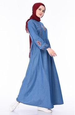 7957a9baa63d6 فستان لون أزرق 2627-01