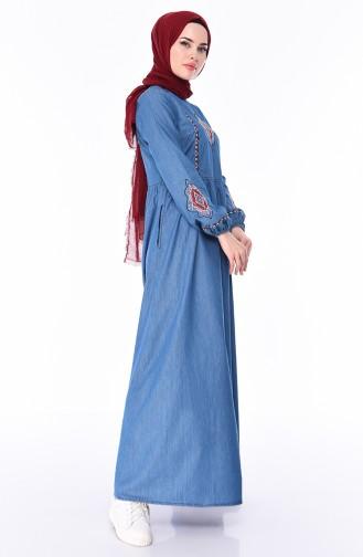 Besticktes Jeans Kleid mit Tasche 4046-02 Jeans Blau 4046-02