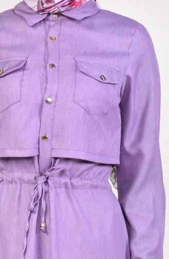 Önü Düğmeli Elbise 18006-09 Lila
