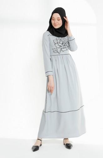 Biye Detaylı Baskılı Elbise 9020-07 Gri