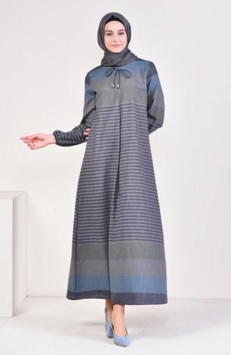 A Pile Çizgili Elbise 4082-08 Lacivert Gri 4082-08
