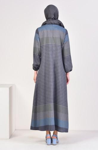 فستان بتصميم مخطط 4082-08 لون كحلي ورمادي 4082-08