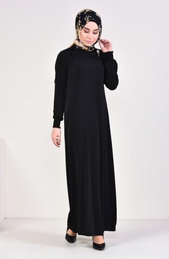 Broşlu Sandy Elbise 9021-03 Siyah