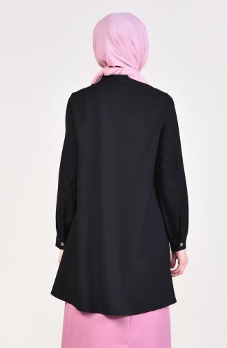 Kravat Yaka Asimetrik Tunik 2071-03 Siyah