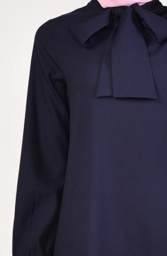 Tunique Asymétrique Col Cravate 2071-06 Bleu Marine 2071-06
