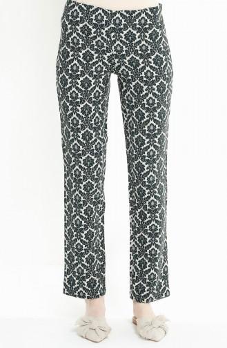 Pantalon a Motifs 3069-02 Vert emeraude 3069-02