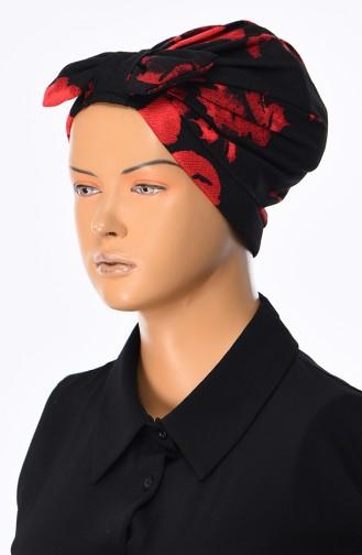 Patterned Bow Bonnet 0034-01 Black Red 0034-01