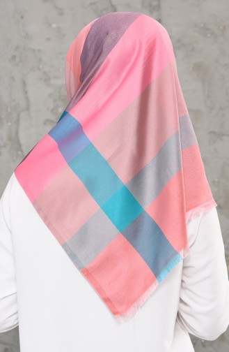 شال بتصميم مطبع 2240-01 لون زهري واخضر فاتح 2240-01