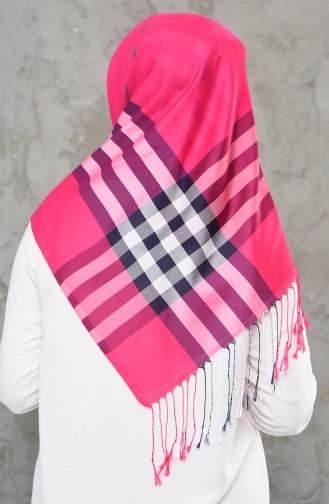 Gemusterter saisonaler Schal mit Quasten 2243-11 Pink 2243-11