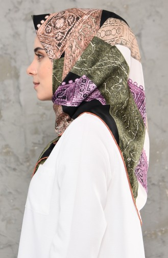 Patterned Rayon Scarf 2245-12 Purple Black 2245-12