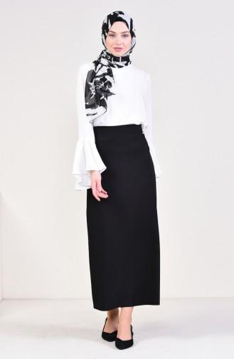 Slit Plain Skirt  0413-03 Black 0413-03