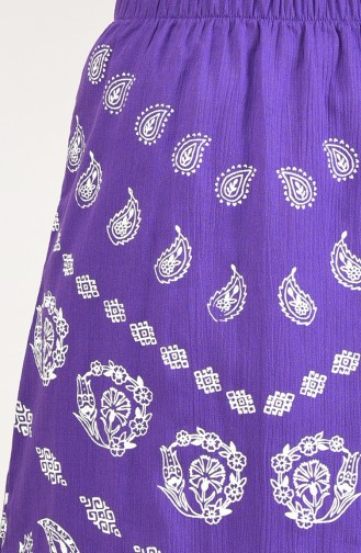 Flared Patterned Pareo Skirt 0200-03 Purple 0200-03