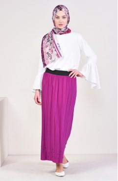 91b581727 Sefamerve, Pleated Skirt 5026-13 Pink