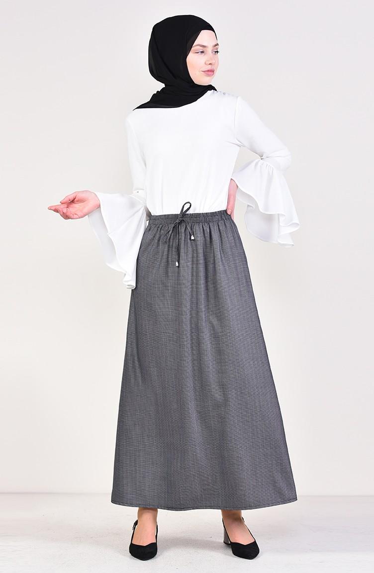 2ebfbd43a Elastic Waist Skirt 1125F-01 Black White 1125F-01
