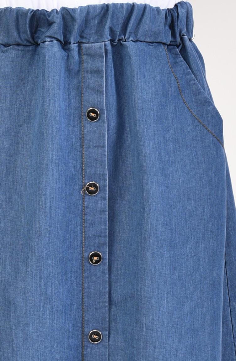 0f08ae308 تنورة جينز بتفاصيل أزرار 2815-01 لون أزرق جينز 2815-01