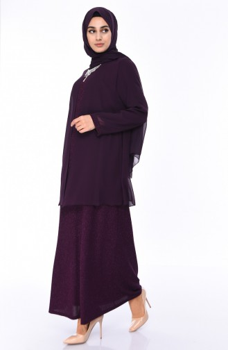 Plus Size Silvery Evening Dress 1052-01 Dark Purple 1052-01