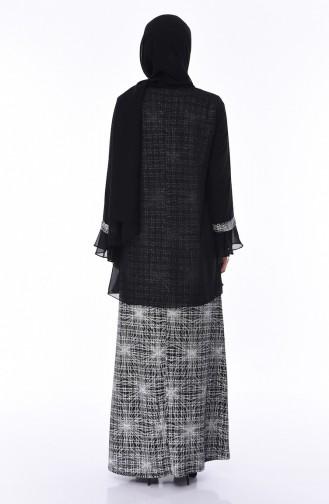 Büyük Beden Taş Detaylı Abiye Elbise 3036-01 Siyah Gümüş 3036-01