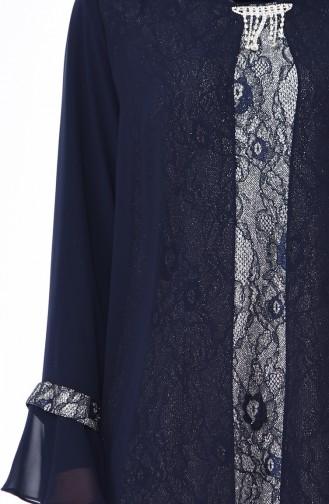 Plus Size Brooch Silvery Evening Dress 3037-01 Navy Blue 3037-01