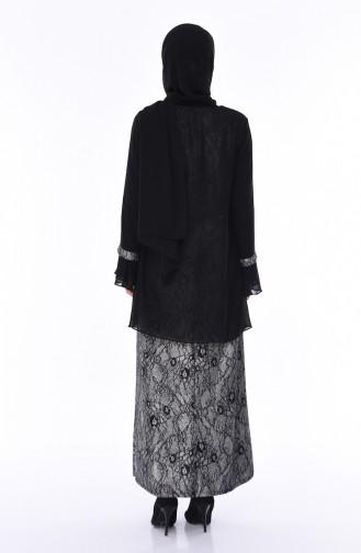 Plus Size Brooch Silvery Evening Dress 3037-02 Black 3037-02