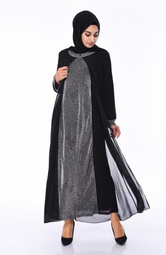 Plus Size Stone Detailed Evening Dress 5077-02 Black 5077-02