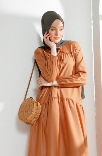 Ruched Dress 7268-13 Biscuit 7268-13