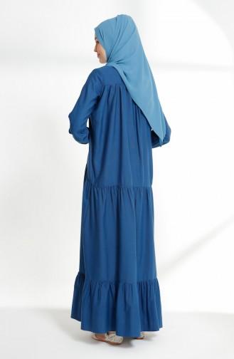 Büzgülü Elbise 7268-11 İndigo