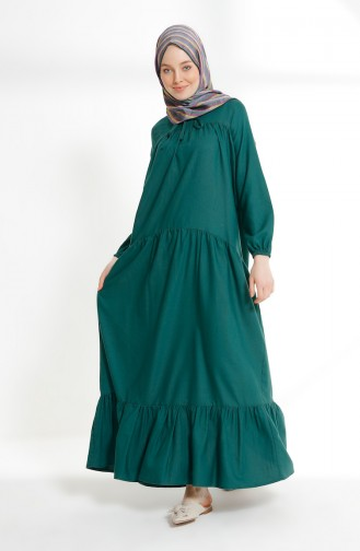 Pleated Dress 7243-07 Emerald Green 7243-07