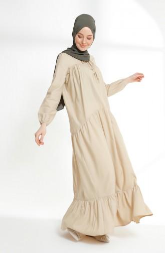 Gerafftes Kleid  7268-09 Beige 7268-09