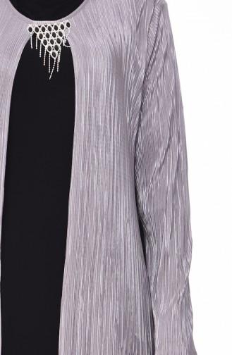 فستان بتصميم موصول بقطعة و بمقاسات كبيرة  1064-01 لون رمادي 1064-01
