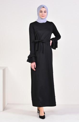 incili Elbise 4028-01 Siyah
