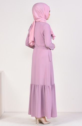 Embroidered Belted Dress 1190-01 Lilac 1190-01