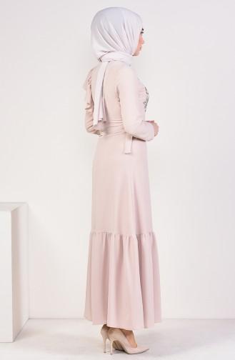 Embroidered Belted Dress 1190-03 Beige 1190-03