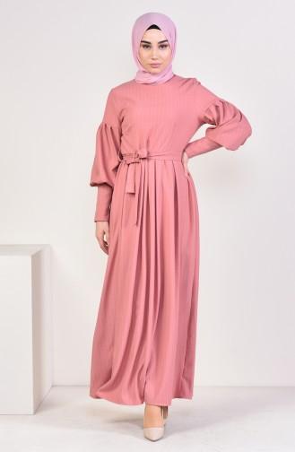 Balon Kol Kuşaklı Elbise 12864-03 Pudra 12864-03